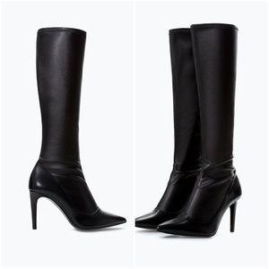 ZARA Stretch High Heel Boots:Black, US 8/EUR 39